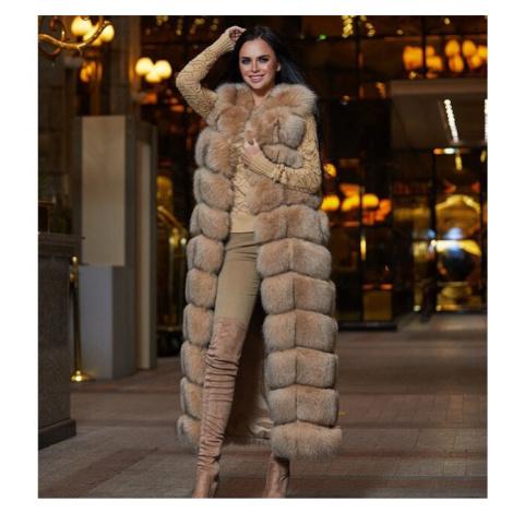 Dámská dlouhá kožešinová vesta chlupatá vesta z umělé kožešiny