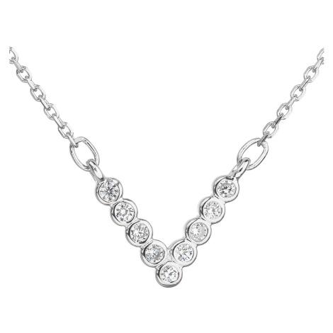 Evolution Group Stříbrný náhrdelník se zirkonem v bílé barvě 12025.1