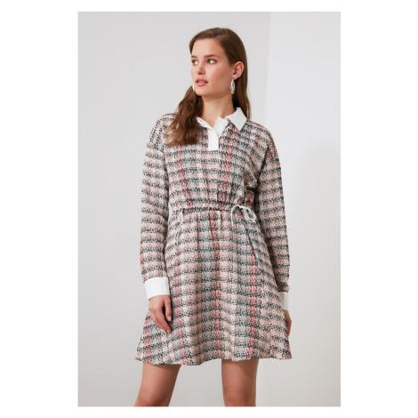 Trendyol Beige Shirt Collar Tweed Dress