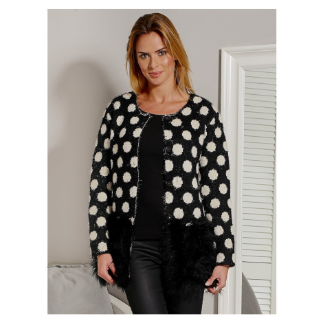 Black hairy polka dot sweater with fur hem Fashionhunters