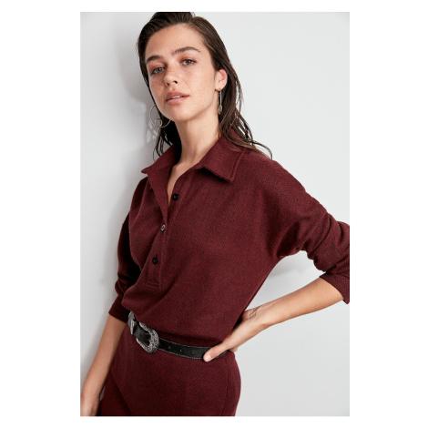 Trendyol Burgundy Fishback Patterned Knitted Shirt