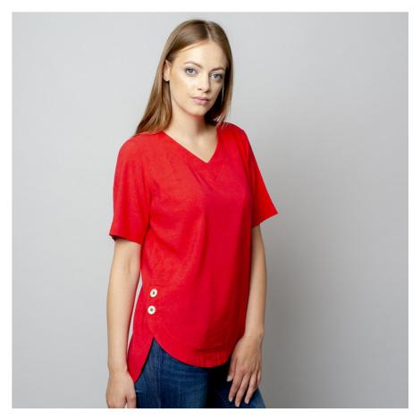 Dámské tričko červené barvy s přídavkem lnu 10910