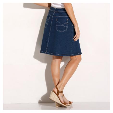 Blancheporte Džínová sukně v rozšířeném střihu modrá