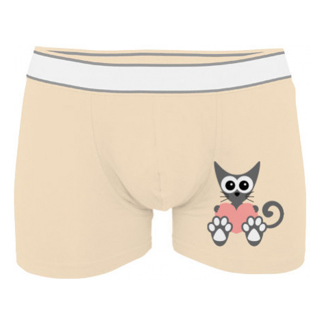 Pánské boxerky Contrast Kočka a srdce