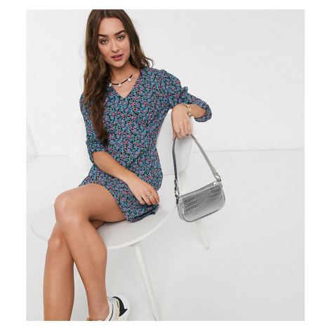 New Look Petite volume sleeve v neck mini dress in blue ditsy floral