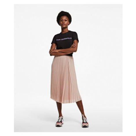 Sukně Karl Lagerfeld Pin Stripe Pleated Skirt - Růžová