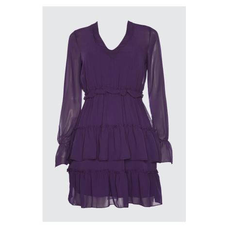Trendyol Chiffon Dress with Purple Collar Detail