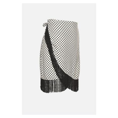 Trendyol White Polka Dot Tassel Detailed Skirt