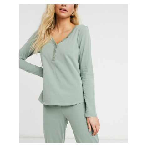 Lindex Astrid organic cotton button front pyjama top in dusty green