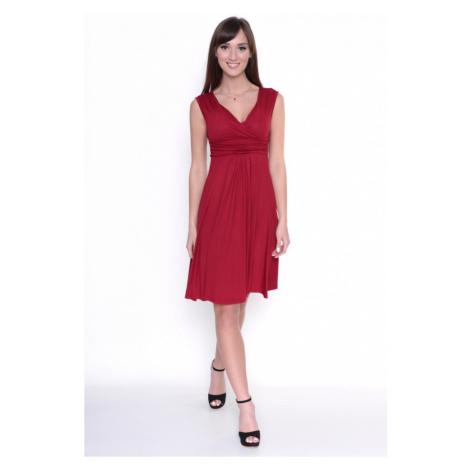 Delší vycházkové šaty bez rukávů barva bordó Oxyd