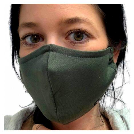 NANO rouška FIX AG-TIVE 3F 99,9% (2-vrstvá s kapsou, fixací nosu a 3 filtry) Khaki