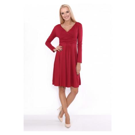 Delší vycházkové šaty s dlouhým rukávem barva bordó