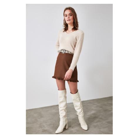 Trendyol Camel Ruffle Skirt