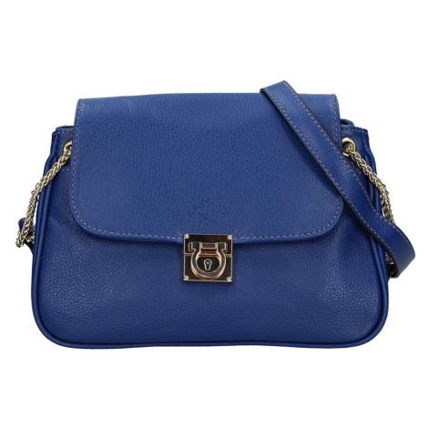 Kožená dámská crosbody kabelka Katana Tinna - modrá