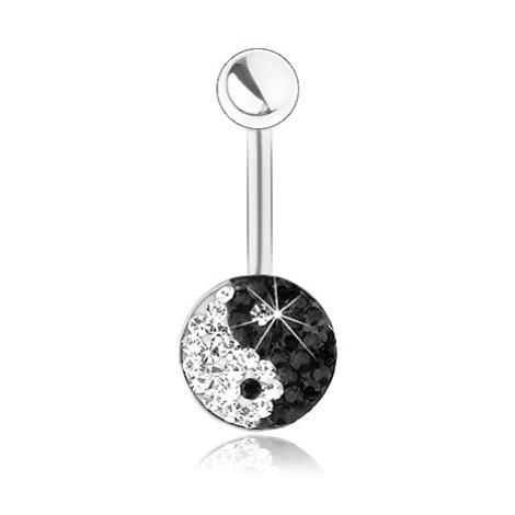 Piercing z chirurgické oceli, stříbrná barva, blýskavý symbol Jin a Jang, zirkonky Šperky eshop
