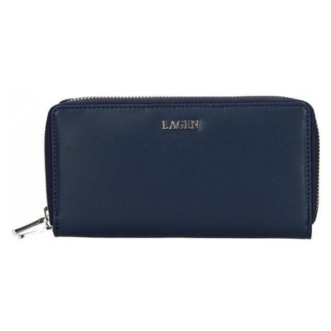 Dámská kožená peněženka Lagen Double - tmavě modrá