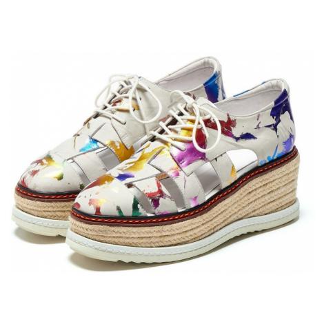 Originální letní boty barevné tenisky na vysoké platformě ze slámy