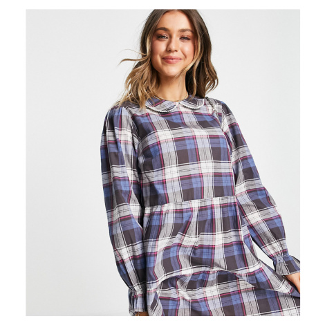 Wednesday's Girl mini smock dress with tiered skirt and collar in vintage check-Navy