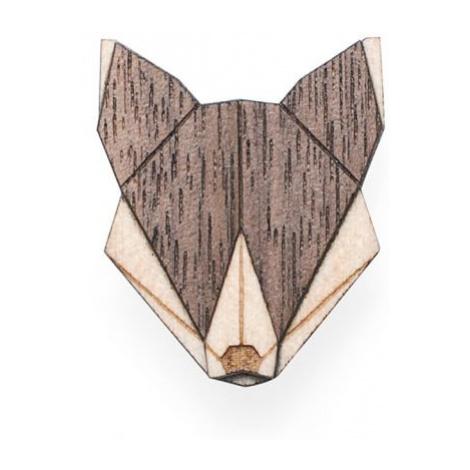 Dřevěná brož Wolf Brooch BeWooden