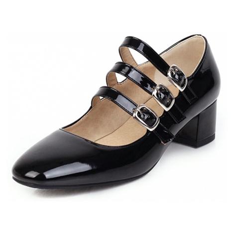 Kožené lodičky páskové lakované boty na podpatku - 39