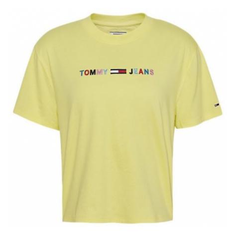Tommy Hilfiger Tommy Jeans dámské žluté tričko TJW COLORED LINEAR LOGO TEE