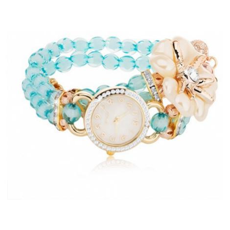 Náramkové hodinky z modrých korálků, ciferník se zirkony, bílý květ Šperky eshop