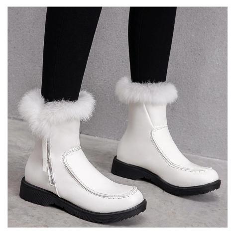 Zimní červené kožené boty s pravou králičí srstí bílé sněhulé černé