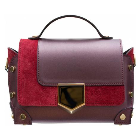 Dámská kožená crossbody kabelka se zdobením - vínová Glamorous