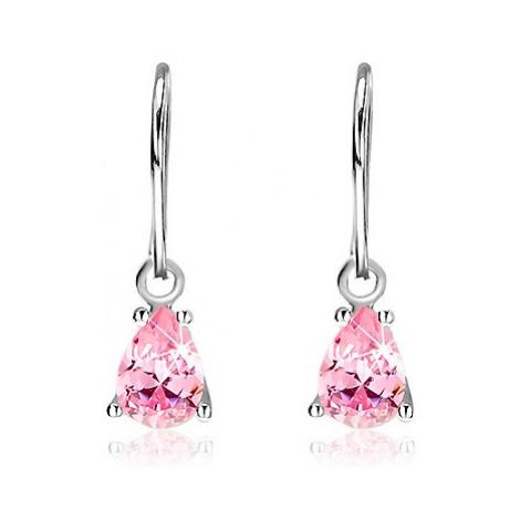 Visící náušnice ze stříbra 925 - růžové zirkonové slzy na háčku Šperky eshop
