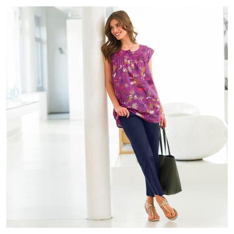 Blancheporte Halenka s potiskem palmových listů purpurová