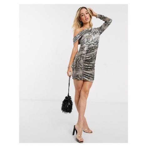 Lavish Alice velvet one shoulder mini dress in snake print-Brown
