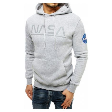 Dstreet Světle šedá mikina s kapucí NASA