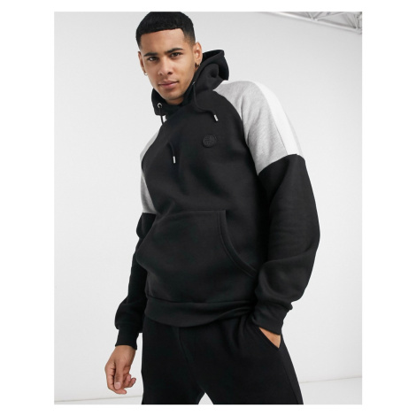 Soul Star mix & match hoody with contrast cut and sew patches in black