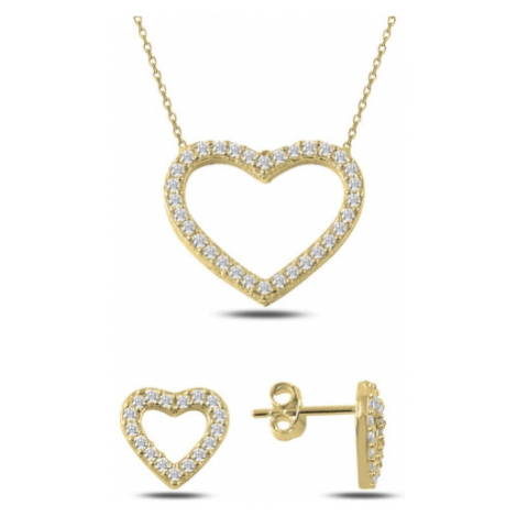 OLIVIE Sada stříbrných šperků ZLATÉ SRDCE 2351