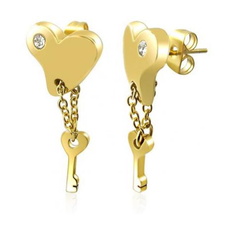 Ocelové náušnice - pozlacené srdce s klíčem na řetízku Šperky eshop