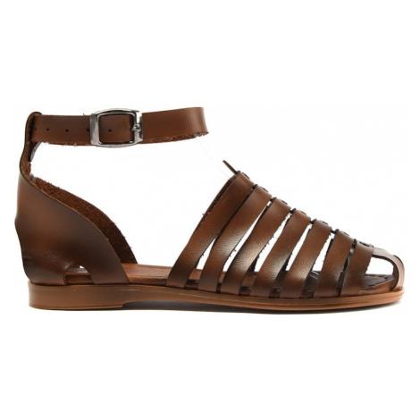 Trendyol Brown Genuine Leather Women Sandals