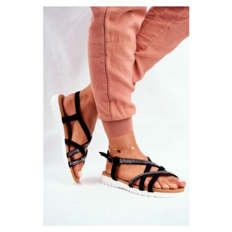Women's Sandals Lu Boo With Zircons 406-6 Black Feen