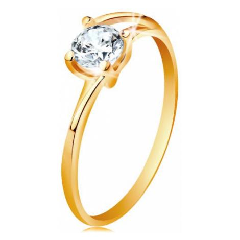 Prsten ze žlutého 14K zlata - tenké rozdělené linie ramen, zářivý čirý zirkon Šperky eshop