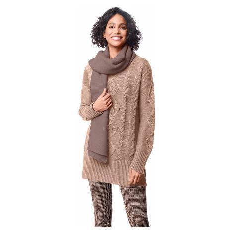 Tunikový pulovr s copánkovým vzorem béžová
