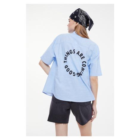 Trendyol Blue Back Printed Shirt