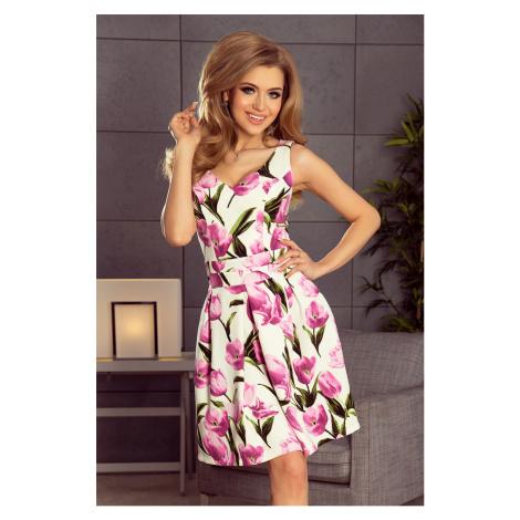 Dámské rozšířené šaty s výstřihem, kontra záhyby, kapsami a vzorem tulipánů model 5917711 NUMOCO