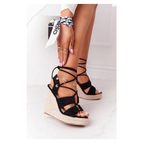Lace-up Wedge Sandals With Braids Black Mallorca Kesi