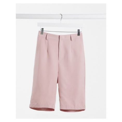 Missguided co-ord tailored longline shorts in mauve-Purple