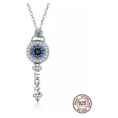 Stříbrný náhrdelník s masivním přívěskem klíč a nápisem