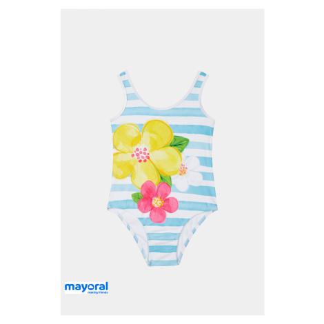 Dívčí jednodílné plavky Mayoral modrobílé