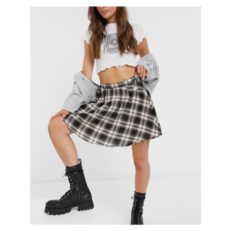 Daisy Street mini pleated skirt in vintage check co-ord-Black
