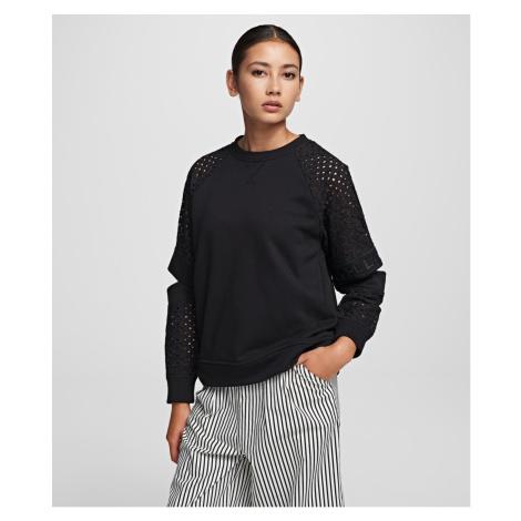 Mikina Karl Lagerfeld Cut Out Lace Slv Sweat Top - Černá