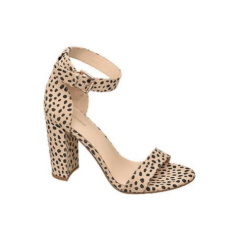 Béžové sandály na podpatku Graceland se zvířecím vzorem