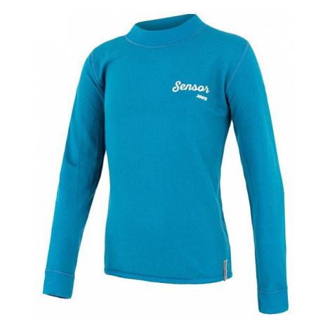 Juniorské tričko SENSOR Merino DF Logo dl. rukáv modrá