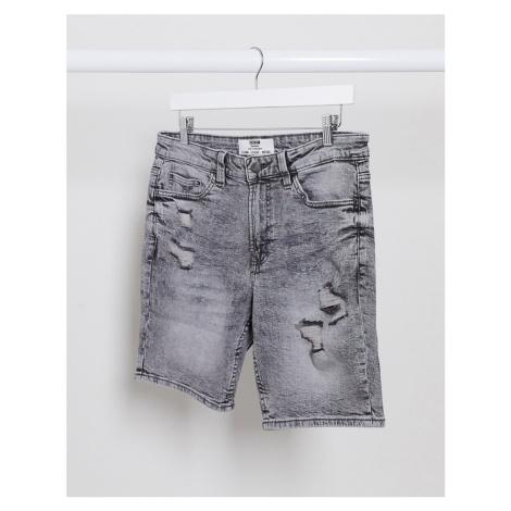 Bershka denim shorts in grey